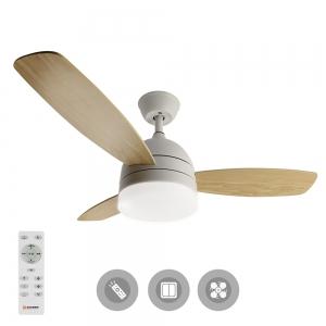 Управляемая светодиодная люстра с вентилятором FAN WOOD 48W+55W-1060х390-white/white-220-IP20