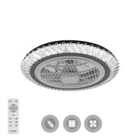 Управляемая светодиодная люстра с вентилятором FAN CRYSTAL 120W-31W-520x230-white/chrome-220-IP20