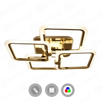 Управляемая светодиодная люстра LIKE RGB 100W 4Q-560/120-RC-GOLD/OPAL-220-IP20